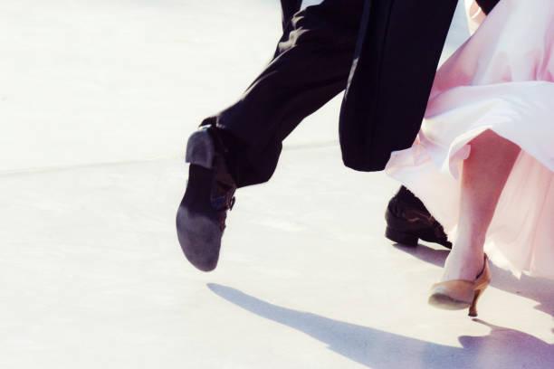 Legs partner dancers man and woman in competitive dancesport - foto stock