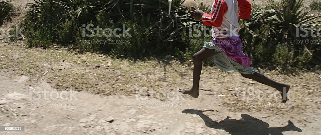Legs running barefoot royalty-free stock photo