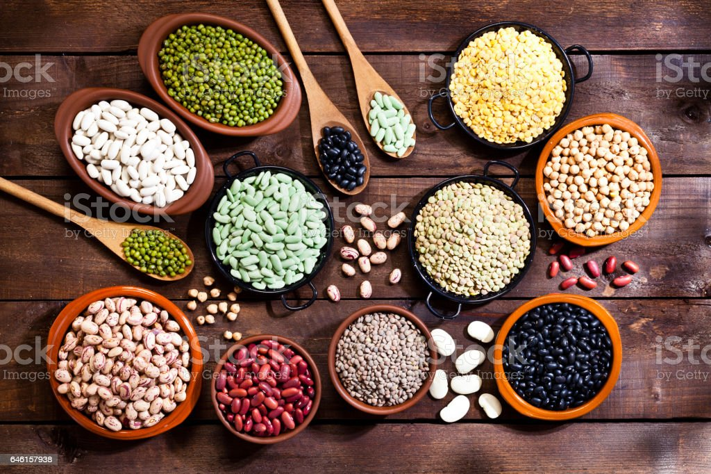 Legumes: Dry beans variety stock photo