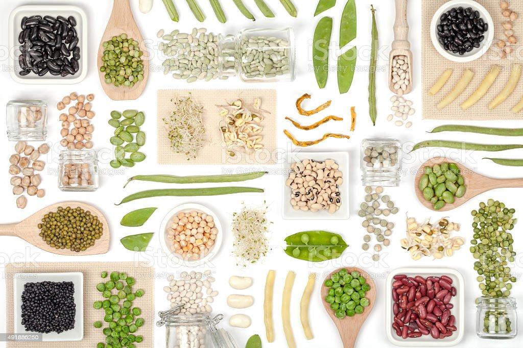 legumes on white background stock photo
