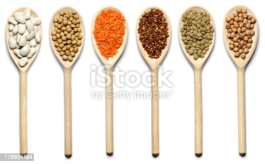 beans, pea, red lentils, buckwheat, green lentils, chick-pea