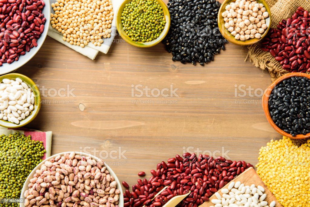 Legumes variety with copy space stock photo
