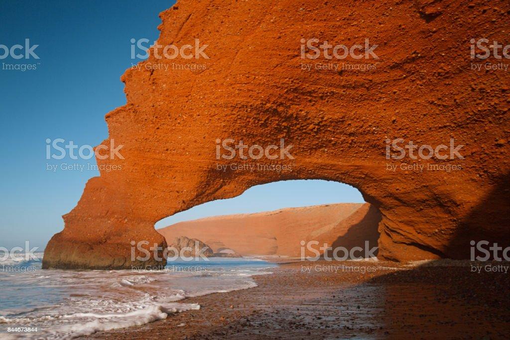 Legzira stone arches, Atlantic Ocean, Morocco, Africa stock photo