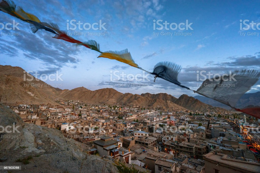 Leh city and the mantra flag stock photo