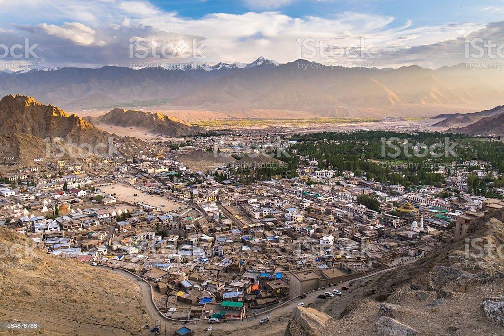 Leh city view from Namgyal Tsemo Monastery, Leh, Ladakh, India stock photo