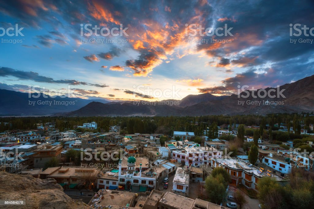 Leh Ladakh Sunset stock photo