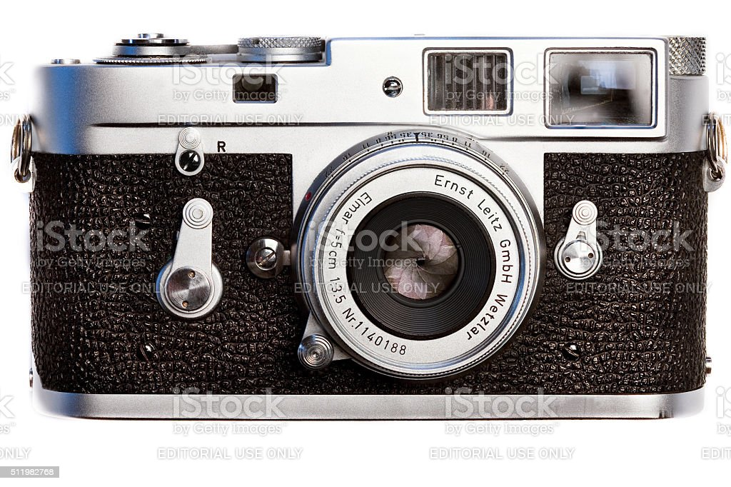 Leica classic M2 vintage  film camera circa 1962front view stock photo