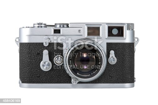 Nashville, Tennessee, USA - May, 24th 2011: An original Leica M3 35mm film camera made during the 1950s and 60s by the Leica camera company in Germany. Isolated on a white background.