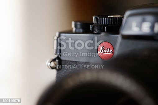 Antibes, France - December 20, 2015: Detail shot of the Leica R4 single-lens reflex (SLR) film camera. Several Leica R4 models were produced by by the Leitz company between between 1980 and 1987; the Leitz company changed its name to Leica in 1987. The R-System, produced in cooperation with Minolta Corporation during iterations R4 until R7, was discontinued in 2009.