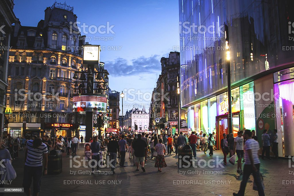 Leicester Square at night, London stock photo