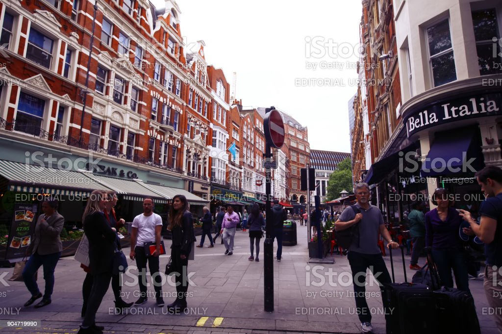 Leicester Square In London With Restaurants Stock Photo