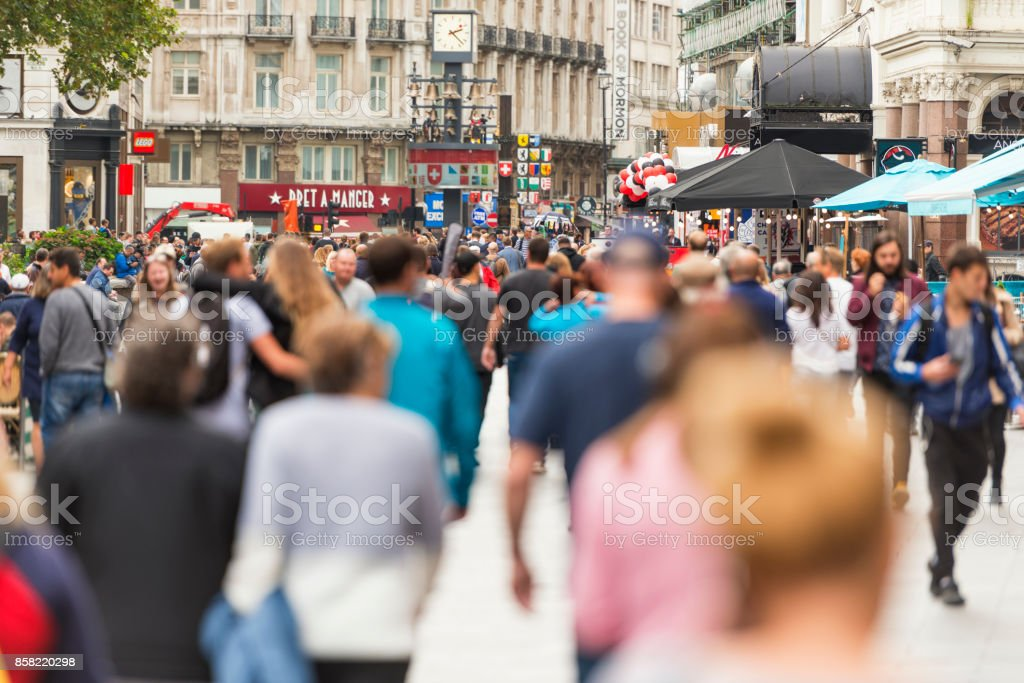 Leicester Square London crowds stock photo