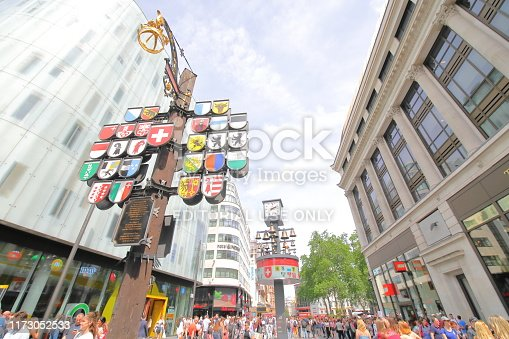 London England - June 1, 2019: People visit Leicester Square London UK
