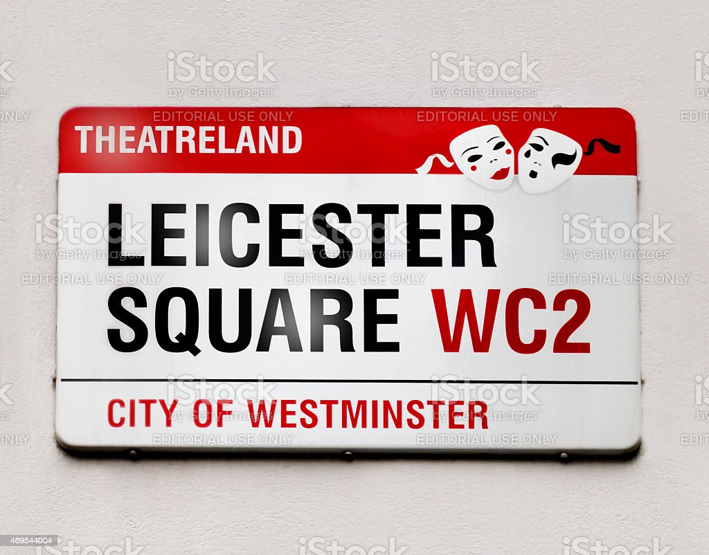 Leicester Square Sign stock photo