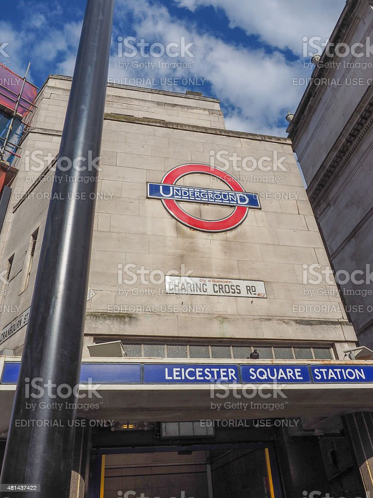 Leicester Square tube station in London stock photo