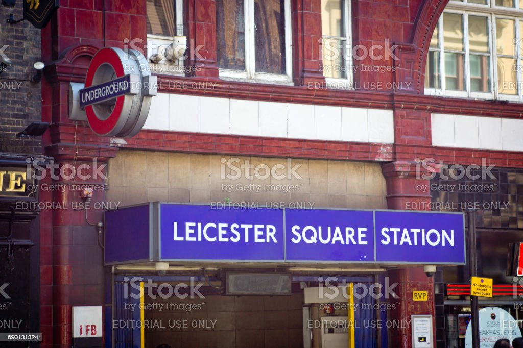 Leicester Square underground station in London, UK stock photo