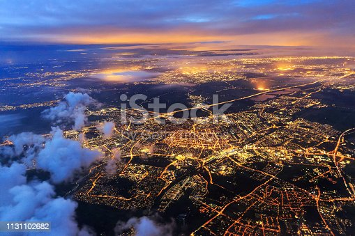 istock Leiden from the sky at night night 1131102682