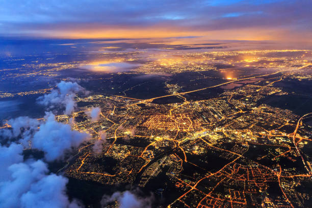 leiden from the sky at night night - high angle view stock pictures, royalty-free photos & images