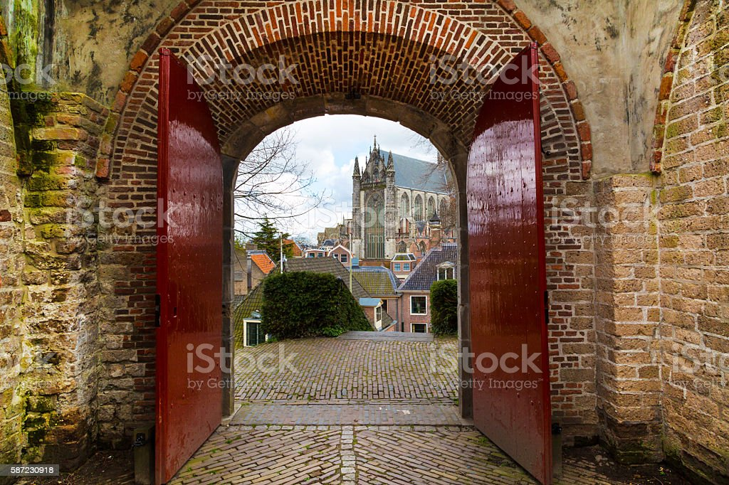 Leiden, Holland, Pieterskerk church view through the old gate stock photo