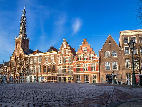 Leiden, Late afternoon sunlight hiding medieval houses.