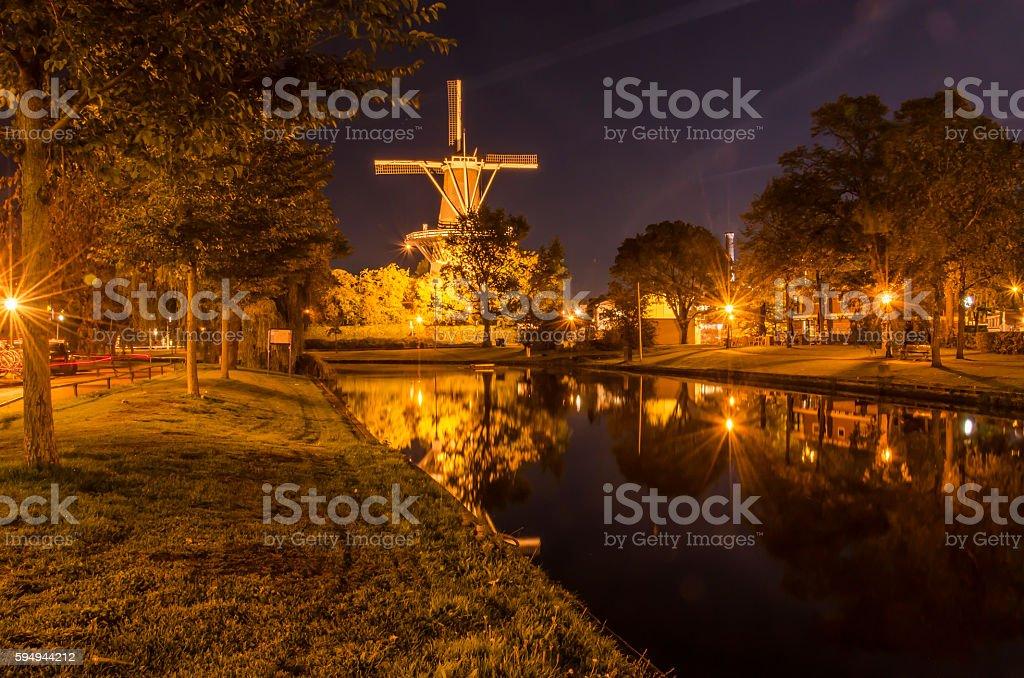 Leiden Windmill at Night stock photo