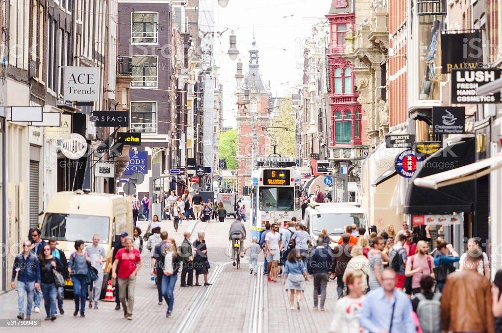 Leidsestraat crowds in Amsterdam stock photo