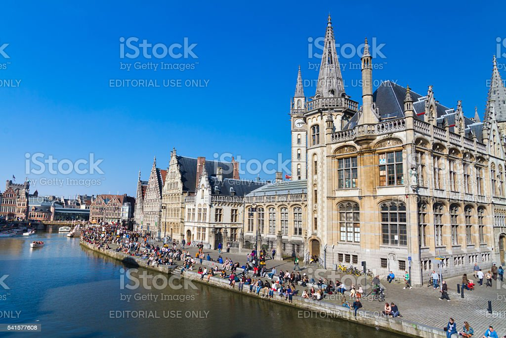 Leie river bank in Ghent, Belgium, Europe. stock photo