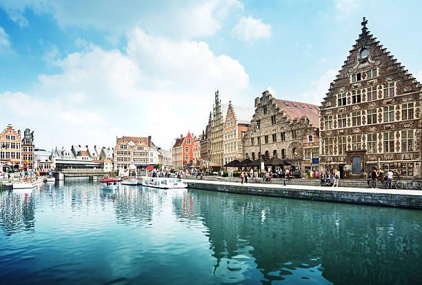 Leie river in Ghent town, Belgium – Foto