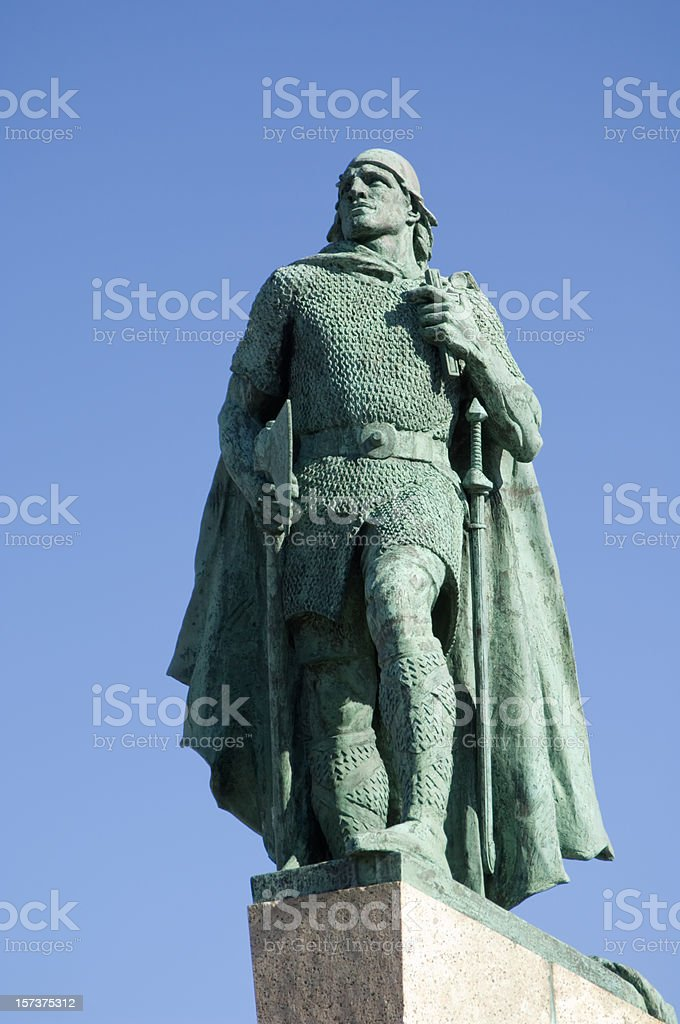 Leif Ericson statue, Iceland stock photo