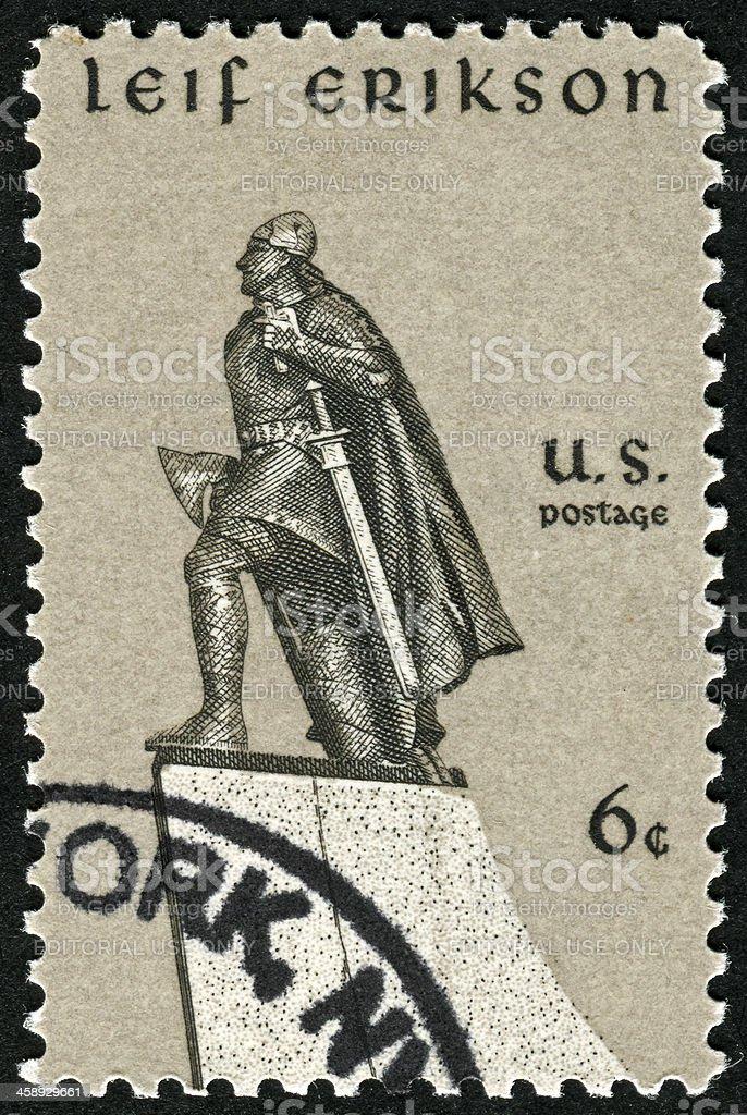 Leif Erikson Stamp stock photo