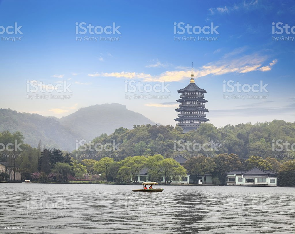 leifeng pagoda in afterglow stock photo