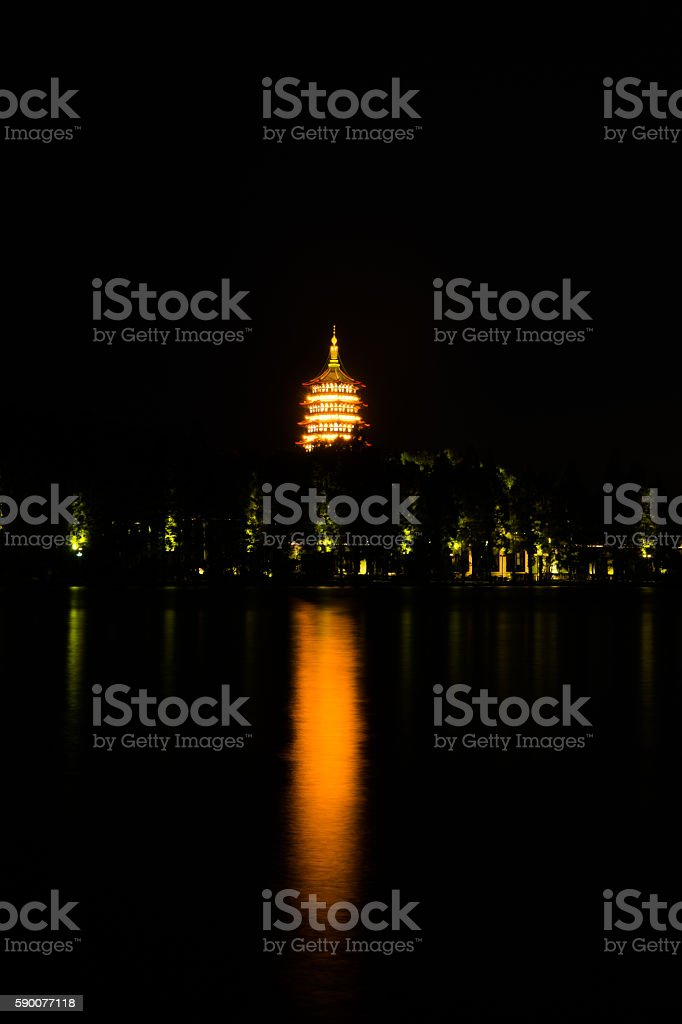 Leifeng Pagoda night shot stock photo