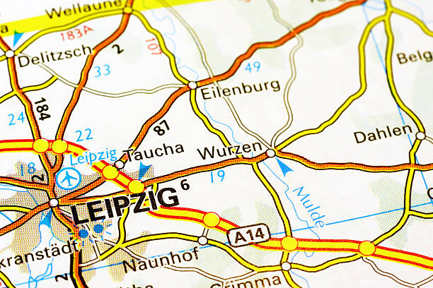 leipzig area on a map - germany map leipzig bildbanksfoton och bilder