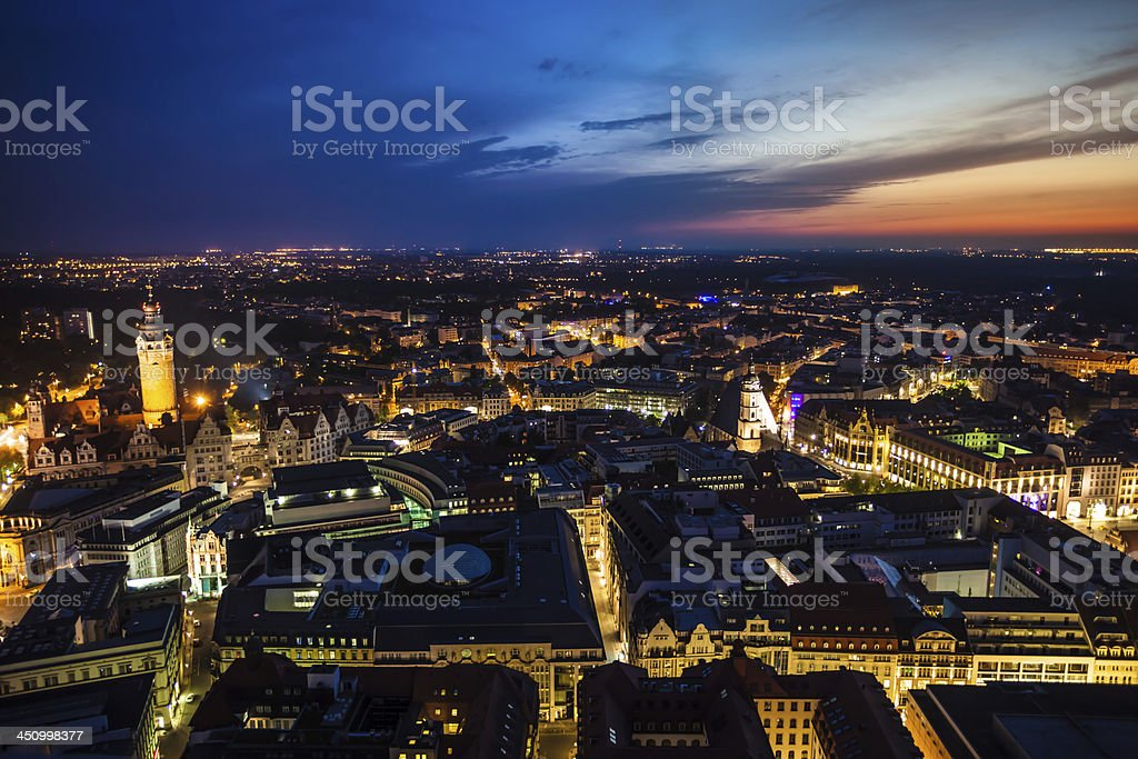 Leipzig by night stock photo