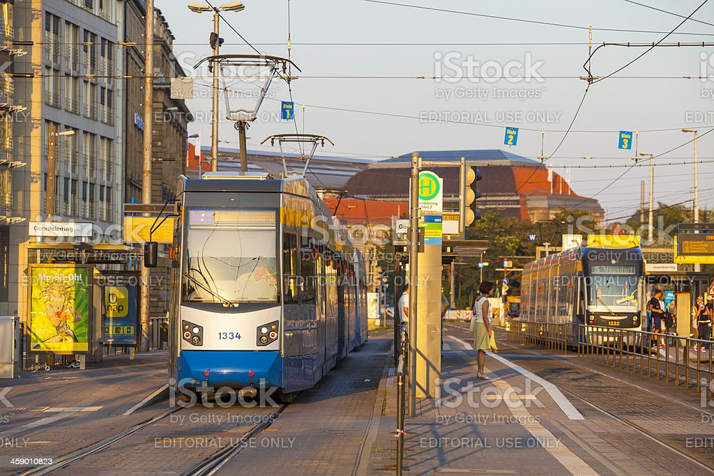 Leipzig Tram stop royalty-free stock photo