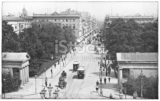 Leipziger Straße in Berlin, Germany. The German Empire/Imperial Germany era (circa mid 19th century). Vintage halftone photo etching circa late 19th century.