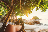 Leisure and Relaxing with hammock in the summer