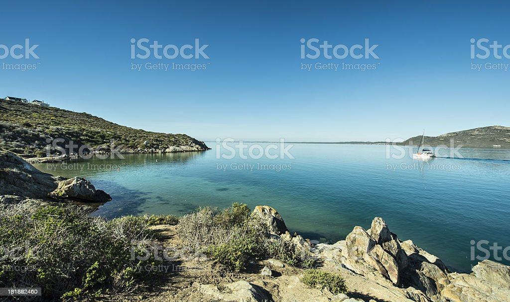 Leisure boat on Langebaan Lagoon stock photo