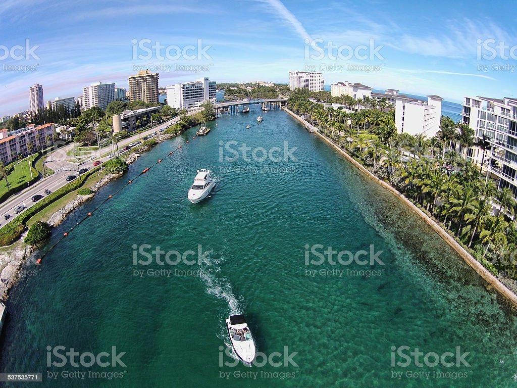 Leisure boating in Boca Raton Florida stock photo