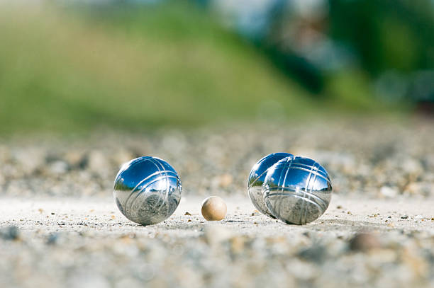 leisure; petanque balls close to the goal - cue ball stock pictures, royalty-free photos & images