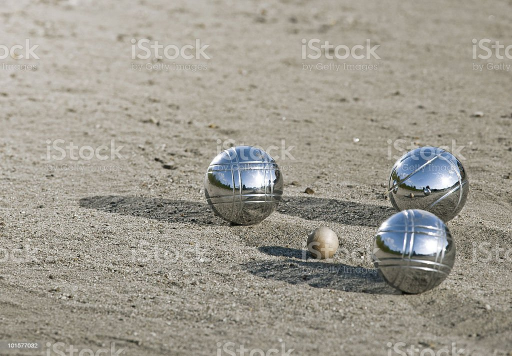 Leisure; three metal balls stock photo