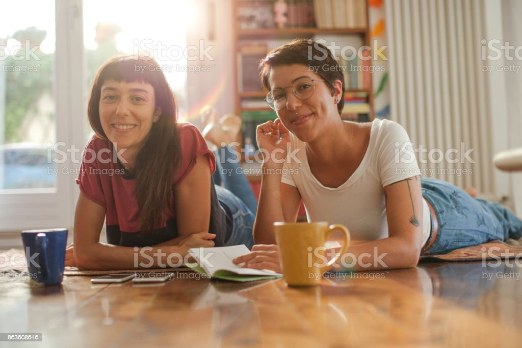 Leisure time at home, spending few days together stock photo