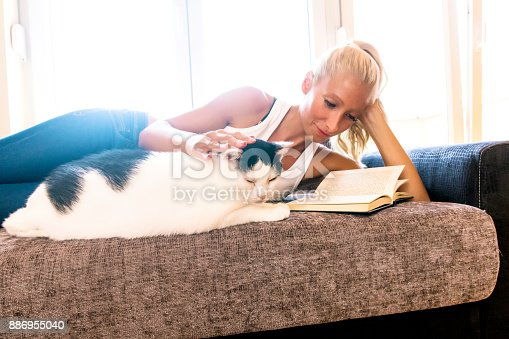 istock Leisure time with a cat 886955040