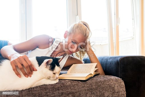 istock Leisure time with a cat 886955422