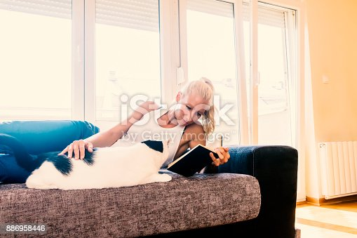 istock Leisure time with a cat 886958446