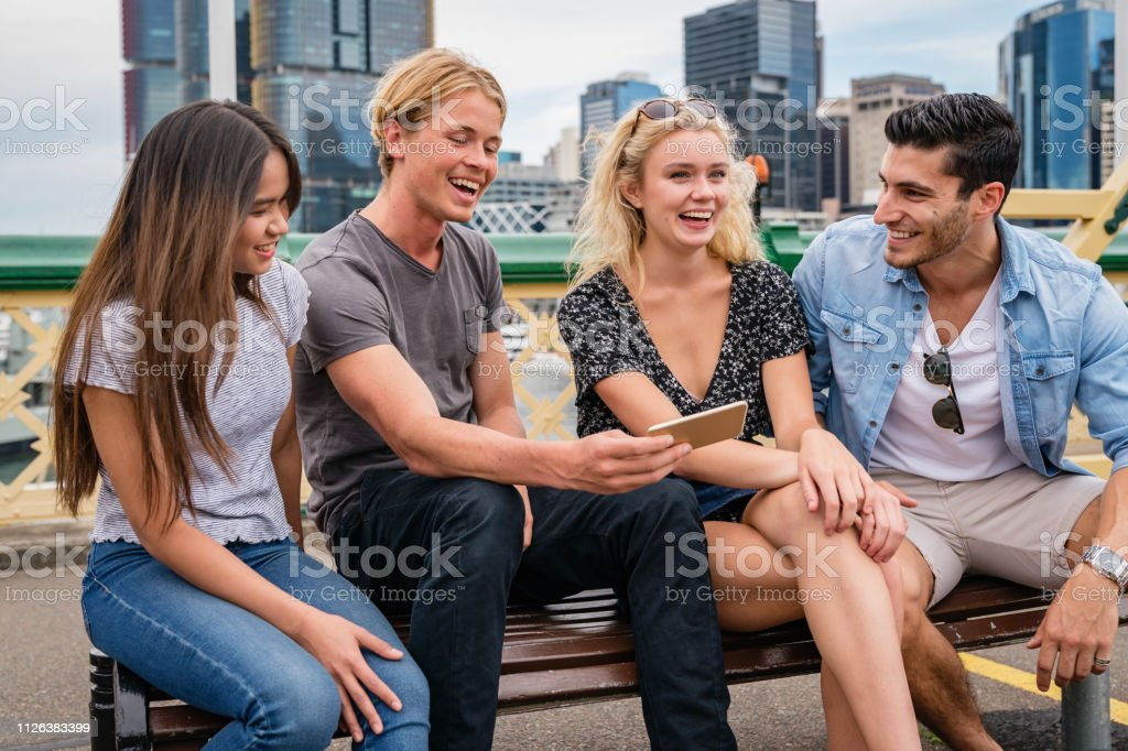 Leisure Time with Friends in Sydney Australia stock photo