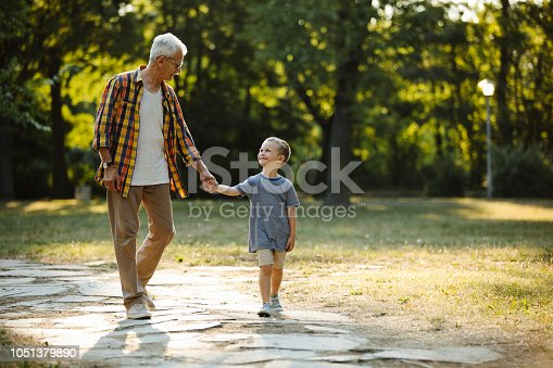 Happy boy walking hand in hand with grandpa in the park at spring