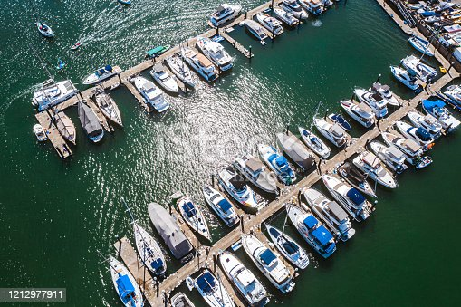 leisure view, many yacht parking near the shore of Sai Kung, countryside of Hong Kong, aerial view