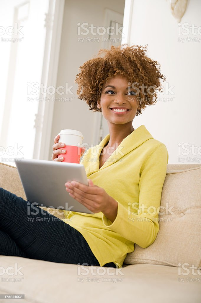 Leisure with a digital tablet royalty-free stock photo