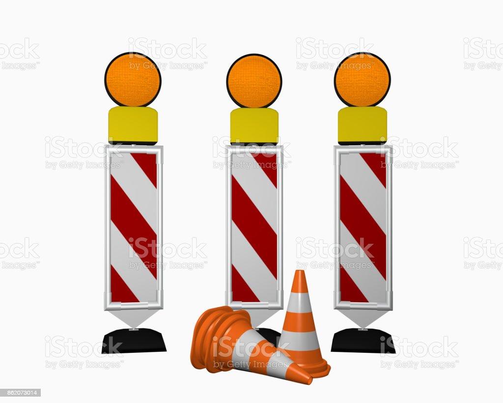 Leitbake für Verkehrsführung mit Warnleuchten und Leitkegeln stock photo
